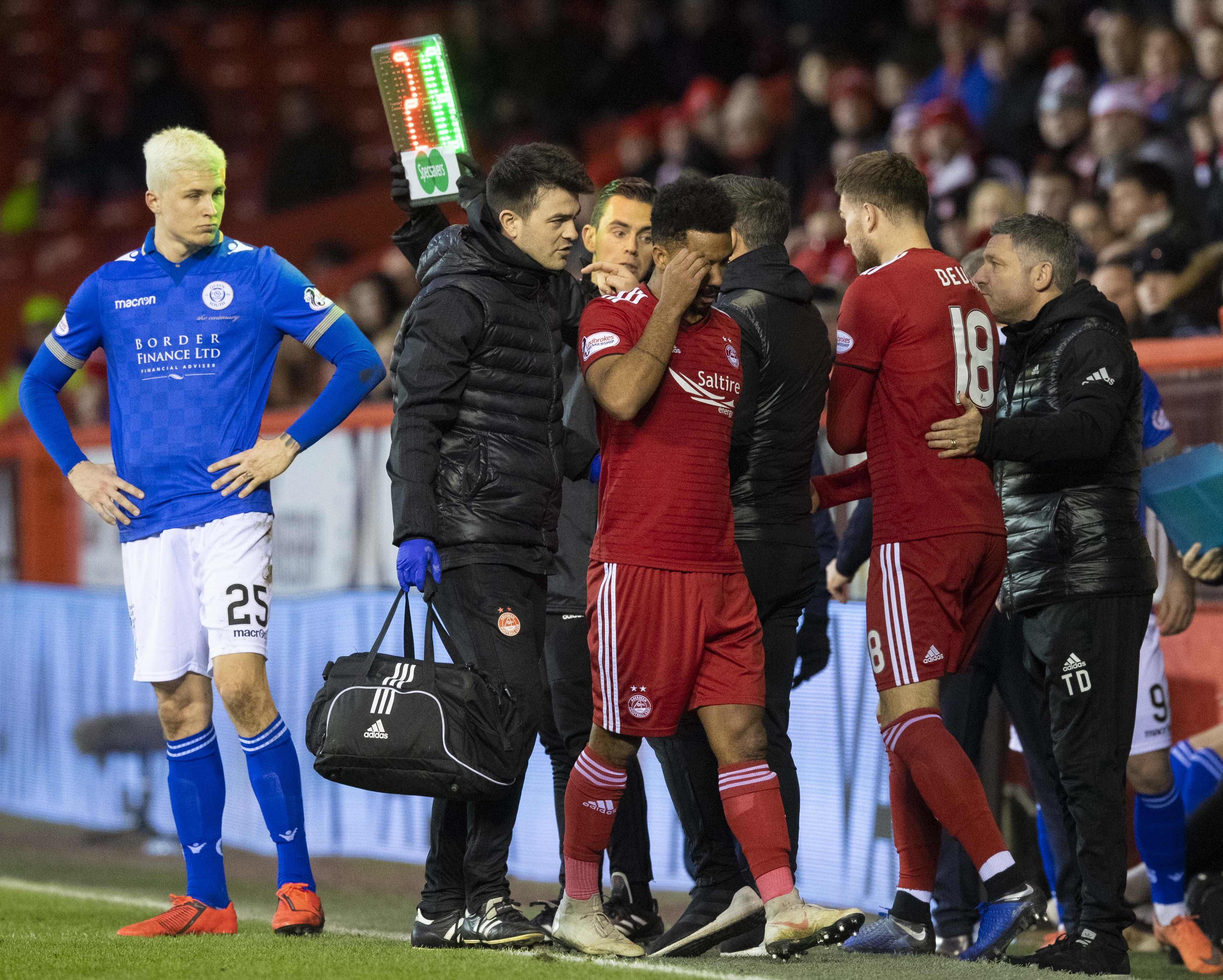 Aberdeen's Shay Logan is substituted for Michael Devlin.