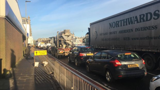The combination of roadworks and a broken down lorry caused major delays on Market Street