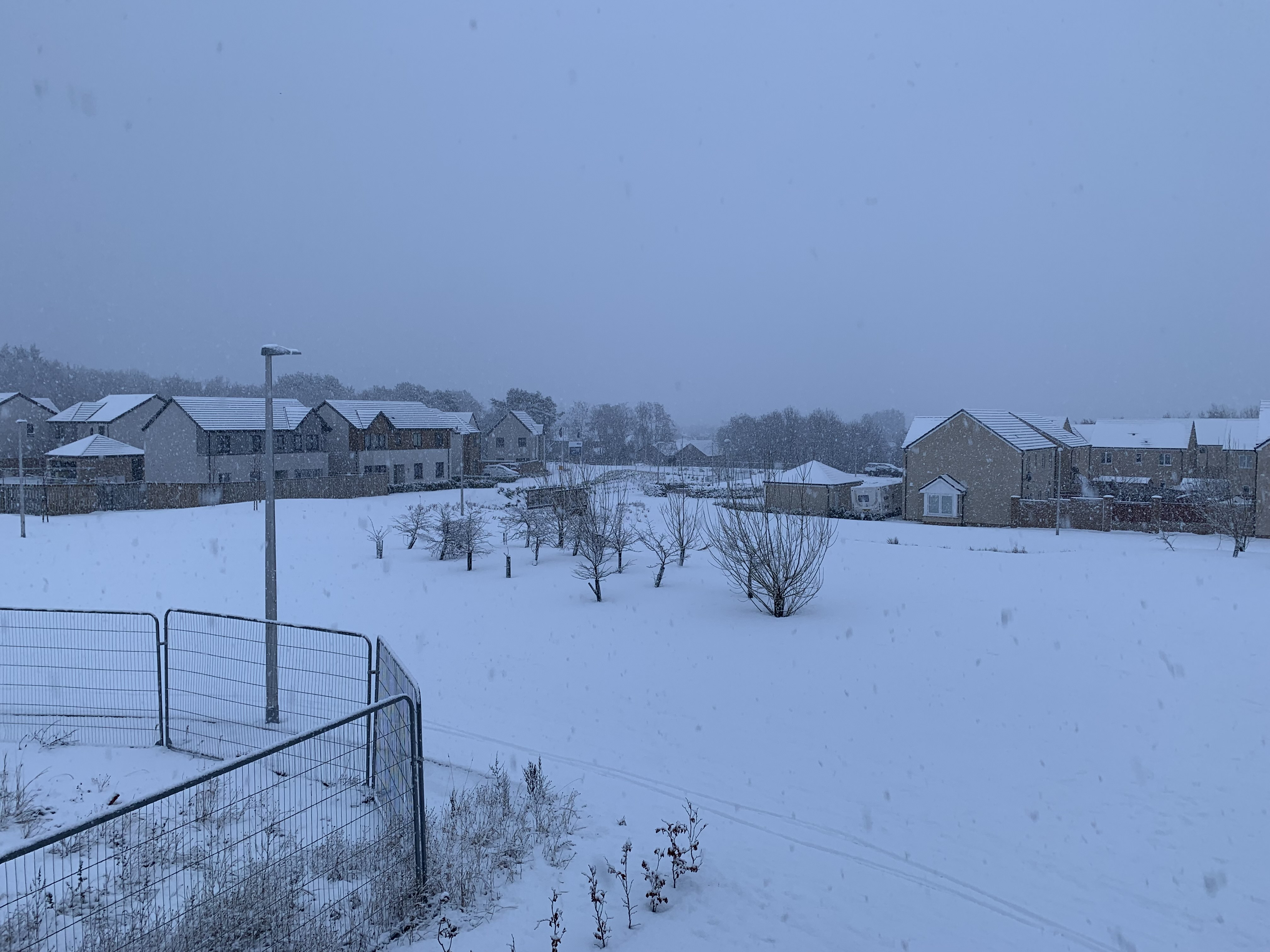 A wintry scene in the north-east this afternoon