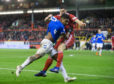 Rangers Alfredo Morelos  and Aberdeen's Scott McKenna clash, resulting in them both receiving a red card during the Scottish Premiership match at Pittodrie earlier this year