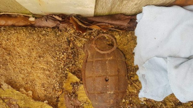 The empty grenade was discovered shortly after 2pm yesterday in Inverurie