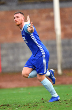Peterhead's Rory McAllister  celebrates his goal against Stirling Albion