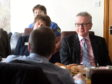 The secretary of state for environment , Food and Rural affairs, Michael Gove visits the NFU and local farmers at Edintore Farm, near Keith.