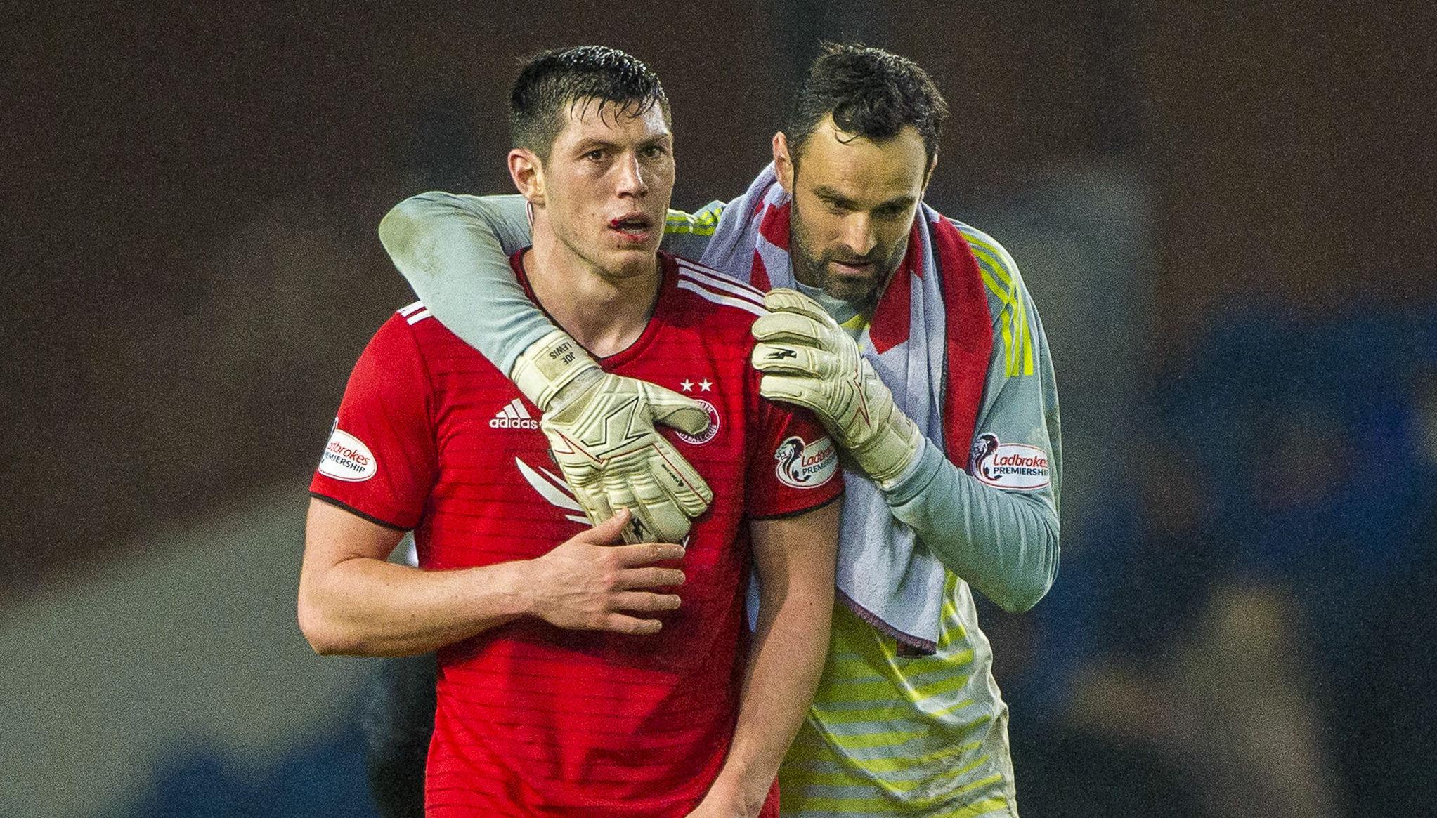 Aberdeen's Scott McKenna and goalkeeper Joe Lewis at full time