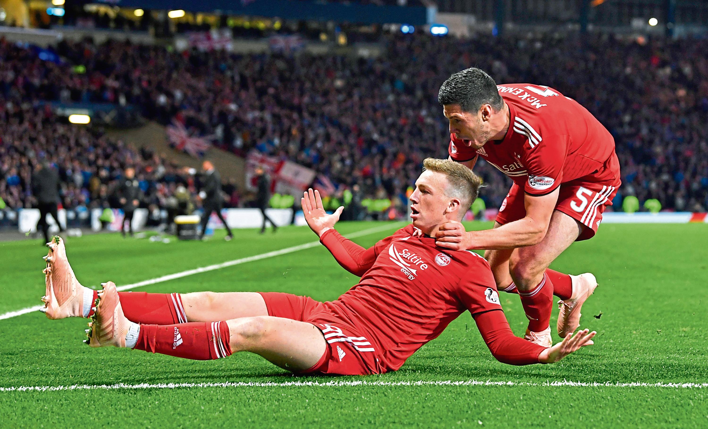 Aberdeen's Lewis Ferguson celebrates after he makes it 1-0
