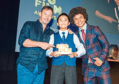 Euan Hao with actor Jason Isaacs, left, and CBBC's Radzi Chinyanganya