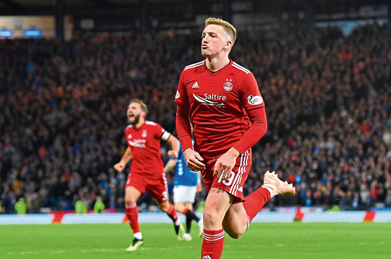 Aberdeen's Lewis Ferguson celebrates after making it 1-0 against Rangers in last season's League Cup semi-final at Hampden.
