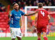 Rangers' Alfredo Morelos shows his frustration.