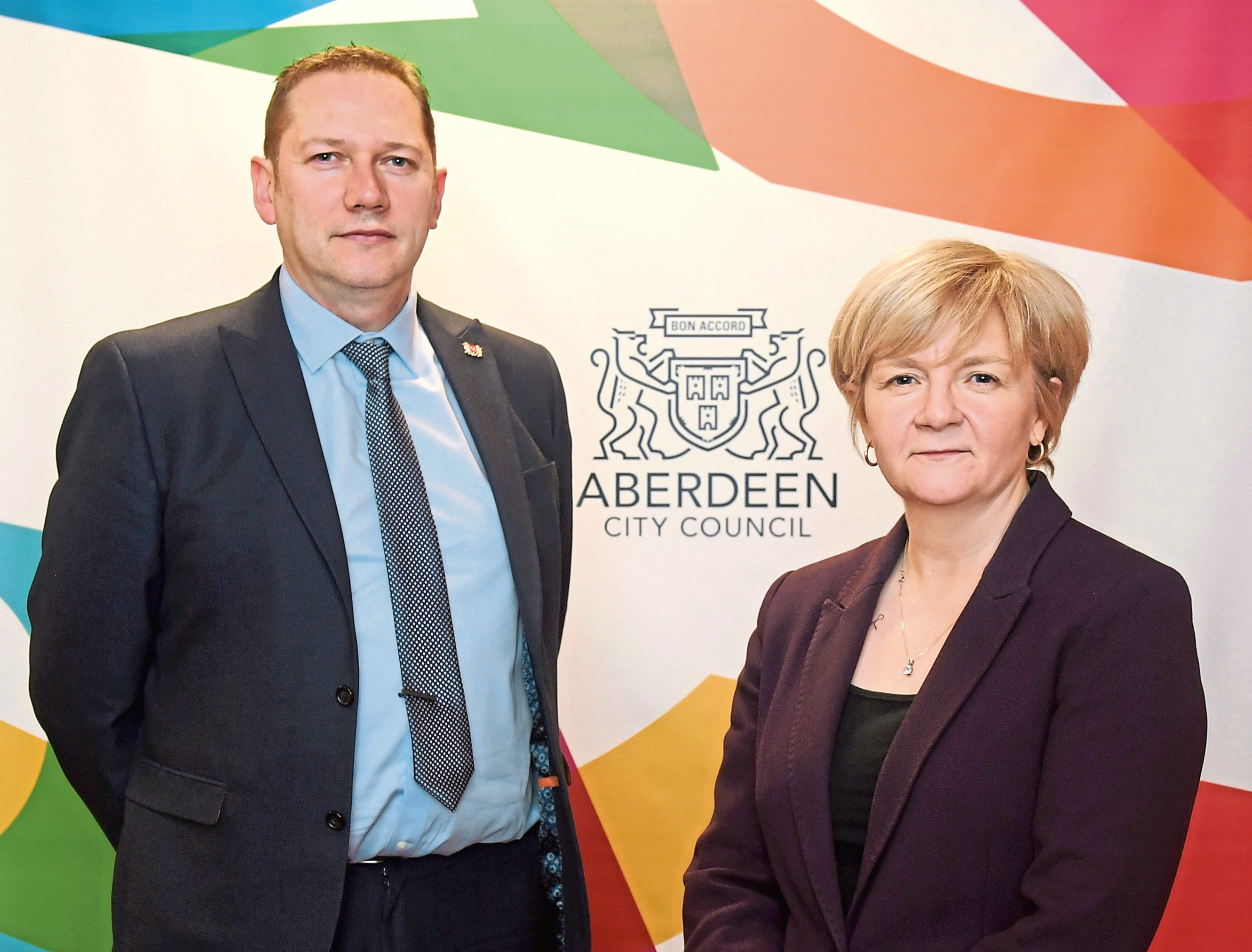 Co-leaders of Aberdeen City Council Douglas Lumsden and Jenny Laing