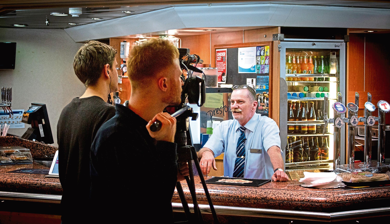 Filming aboard the MV Hrossey