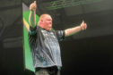 John Henderson in Premier League darts action at the AECC last year