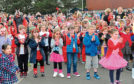Balmedie School held a flash mob for Comic Relief in 2017