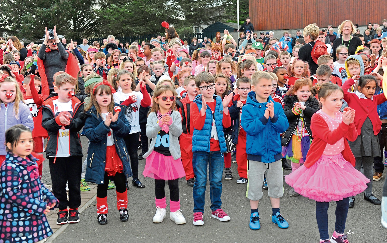Balmedie School held a flash mob for Comic Relief in 2017