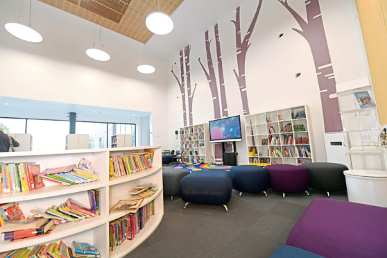 The library in the new Stoneywood Primary School.