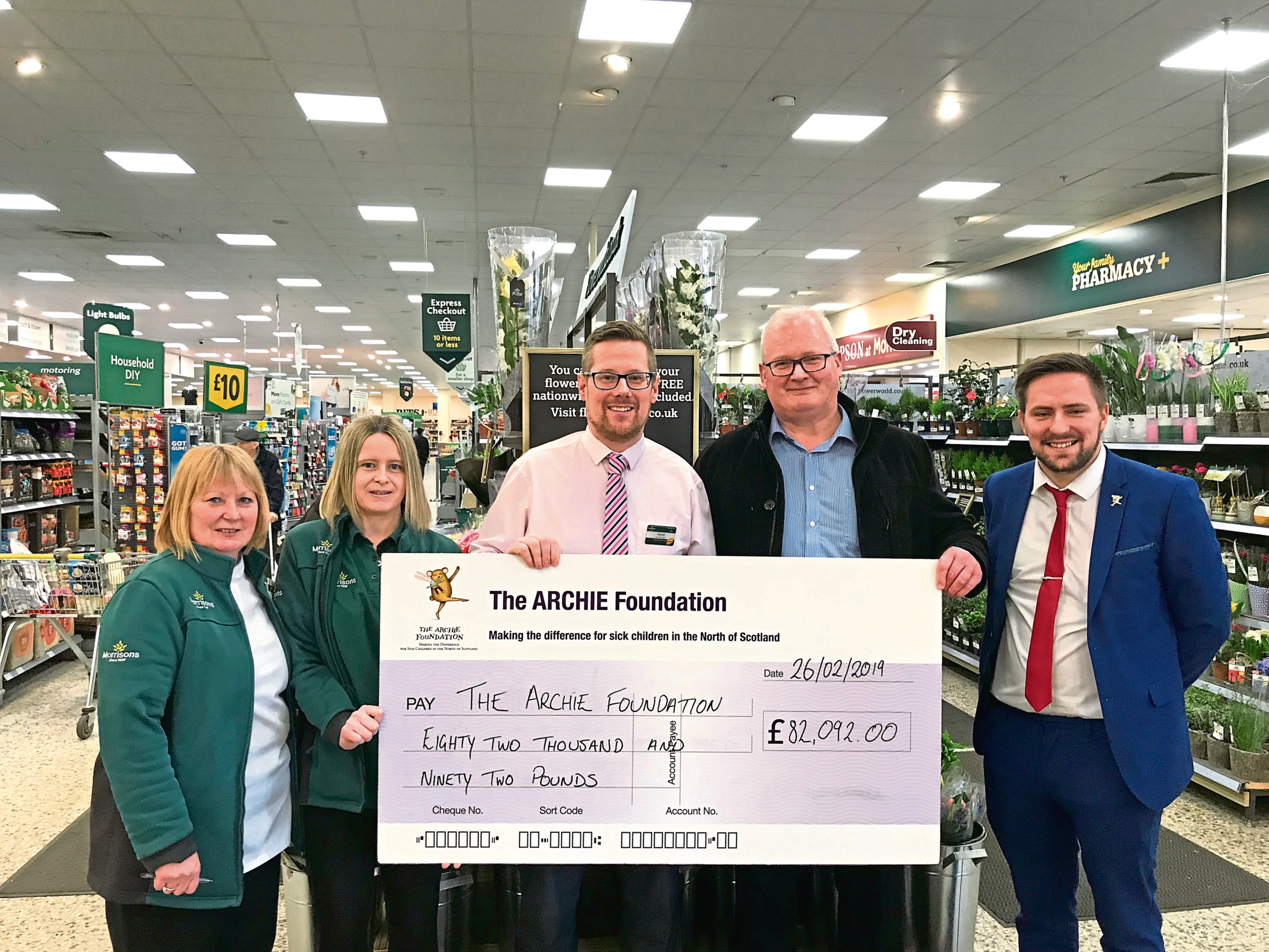 Morrisons donated £82,092 to the Archie Foundation,  which supports sick children at Royal Aberdeen Children's Hospital