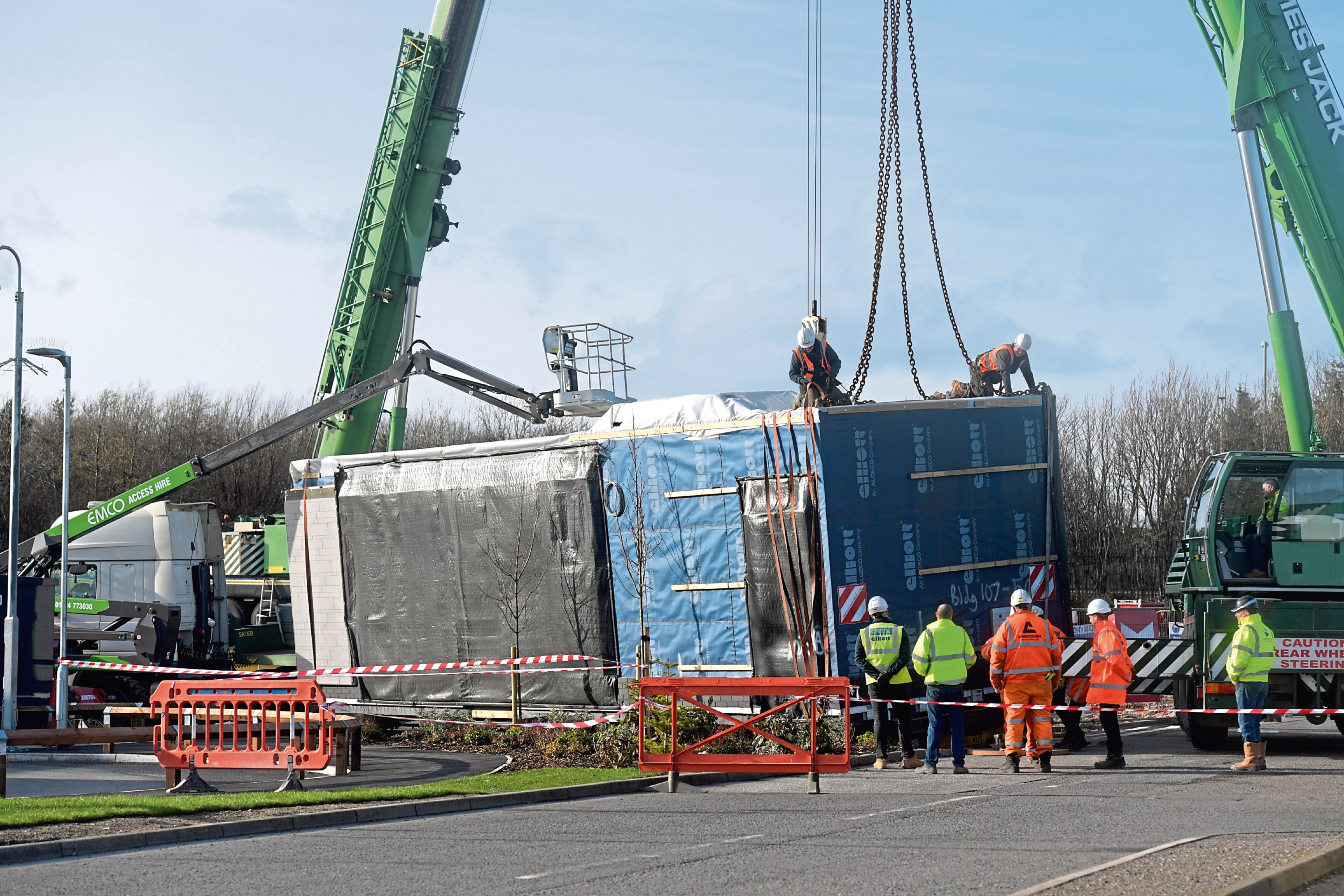 Cranes were required to lift the load and help free the lorry