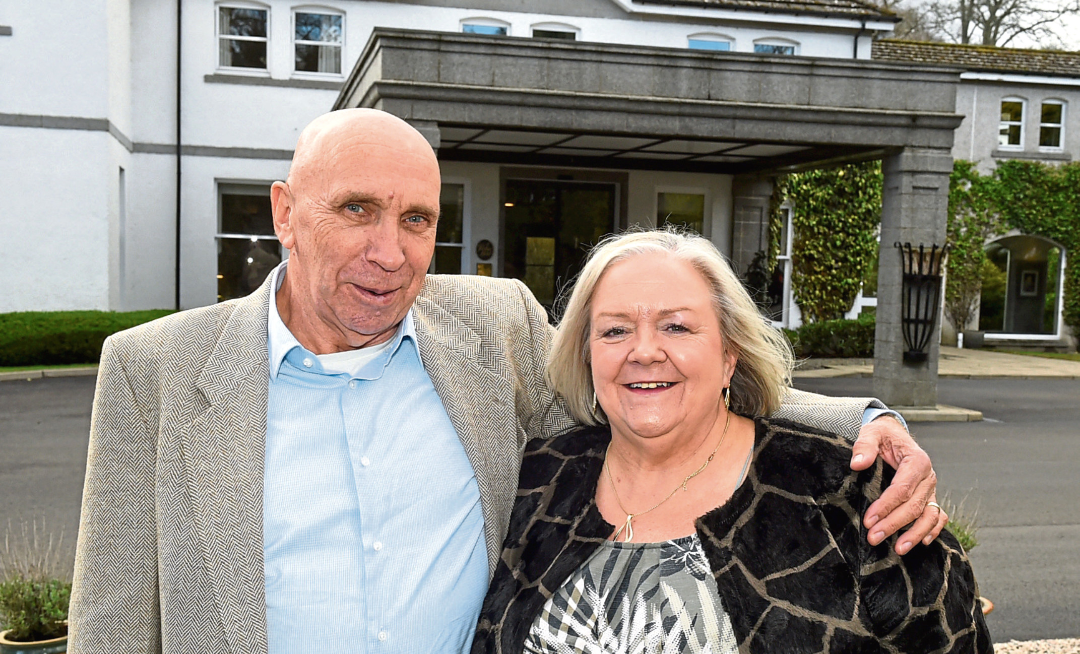 Jackpot winners Fred and Lesley at the Marcliffe Hotel, Aberdeen.