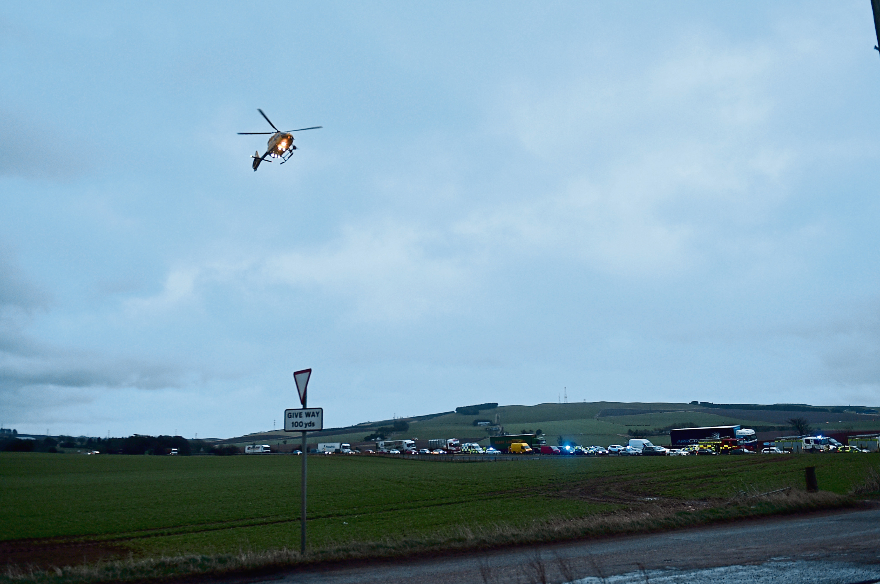 The scene at the A90, Drumlithie