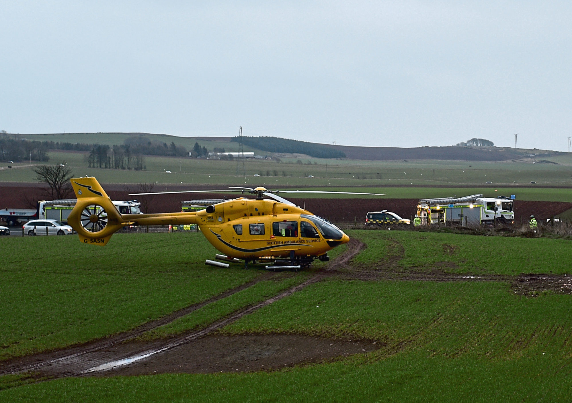 The scene of the incident on the A90