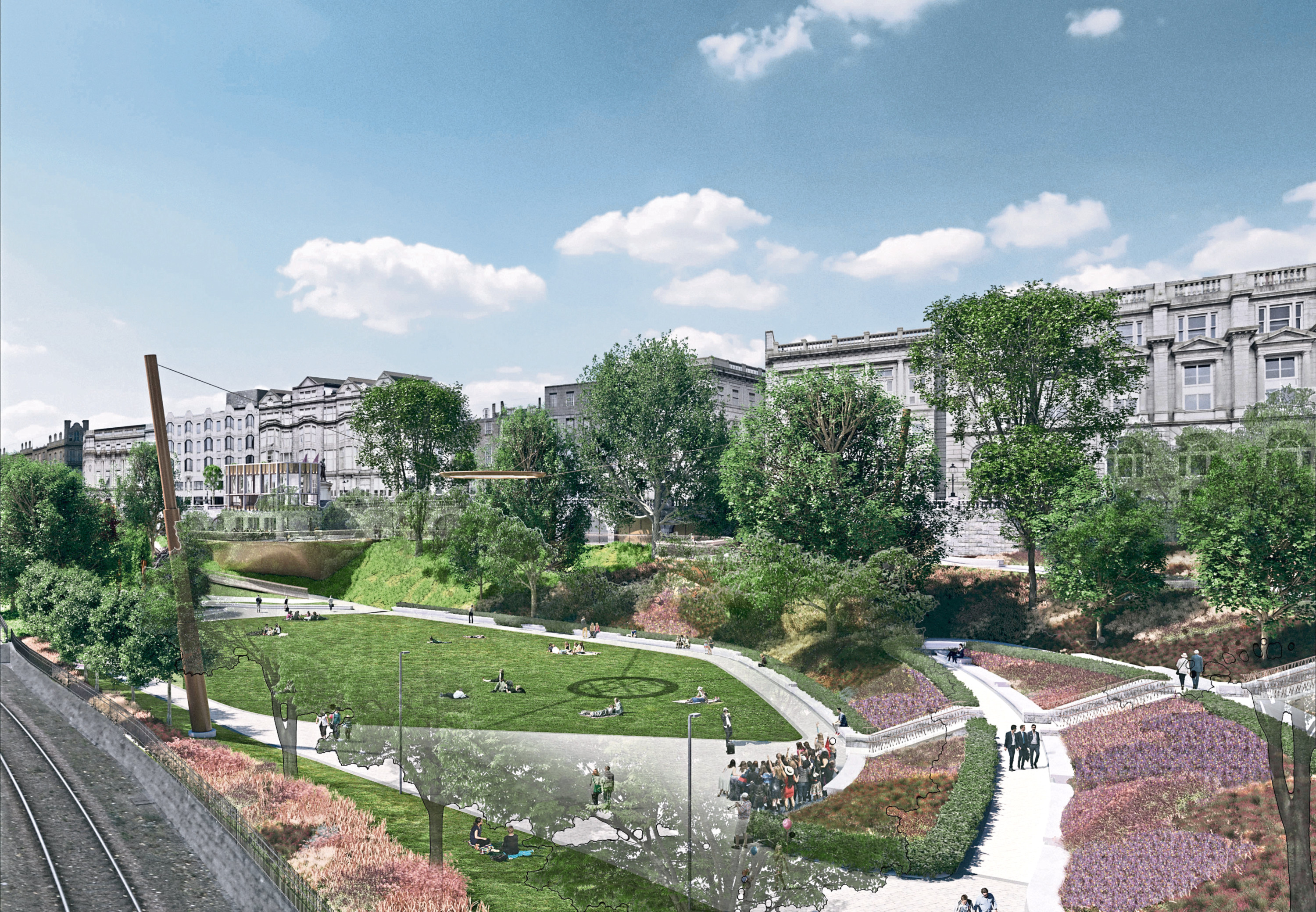 An artist impression of the planned changes to Union Terrace Gardens