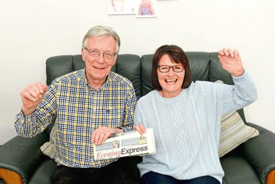 Evening Express Bingo Winner Lynette Robertson with her husband Leslie