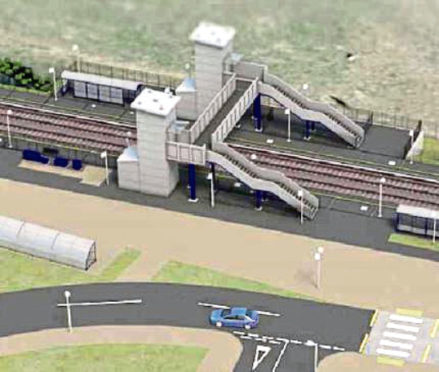 An artist's impression of how the new railway station in Kintore could look