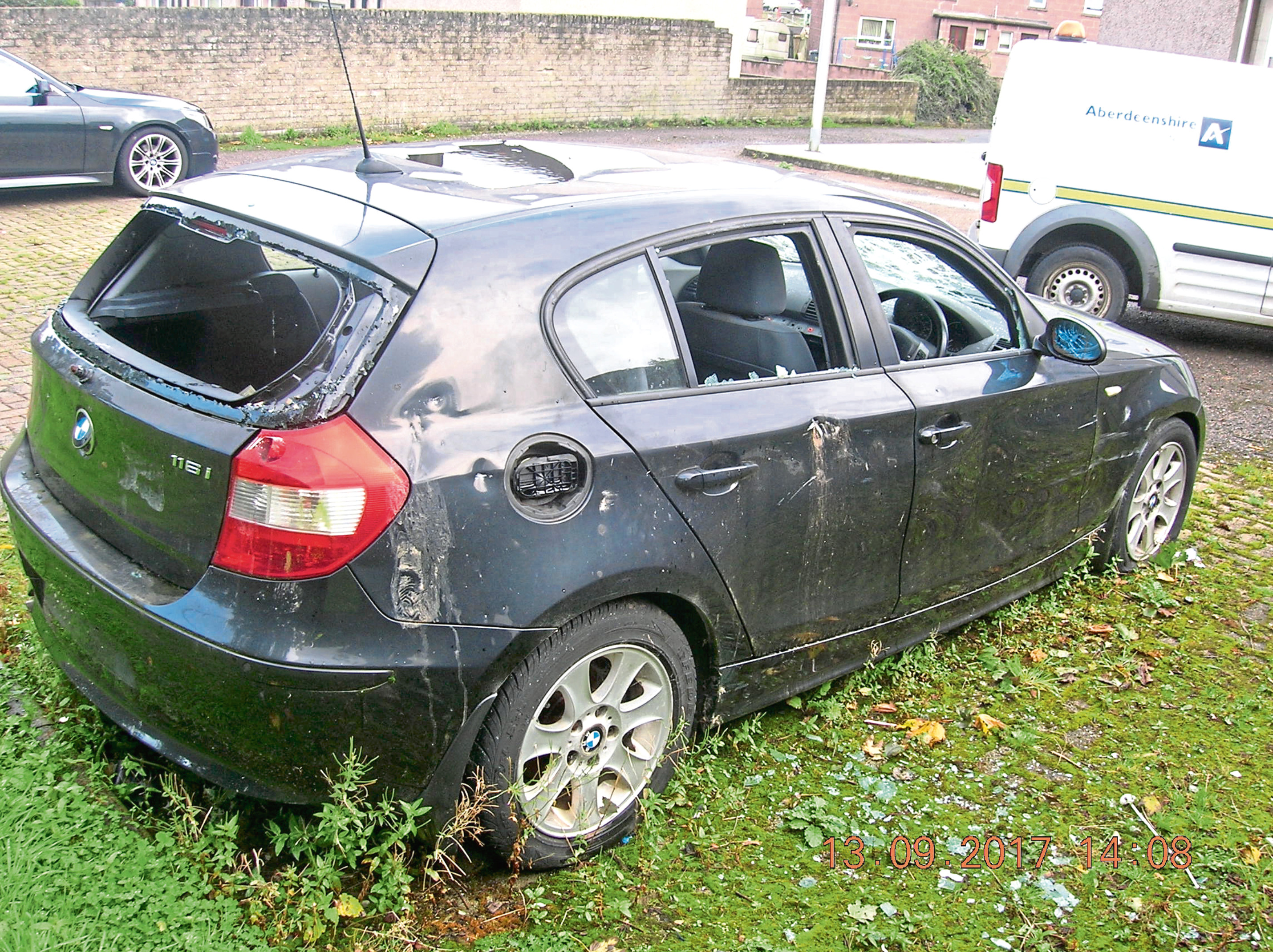 One of the cars dumped in Aberdeenshire