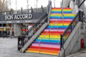 The newly-painted steps at the St Nicholas Centre