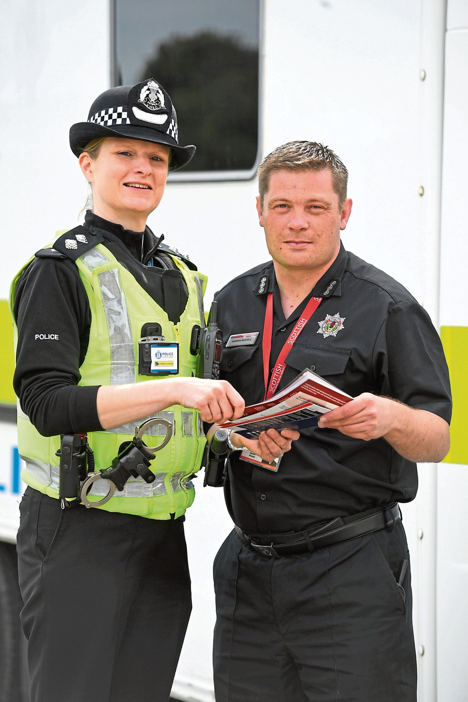 Inspector Karen Main and Darren Riddell Aberdeen City Fire Station's manager