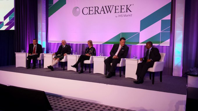 Barney Crockett has been flying the flag for the Granite City at CERAWeek
