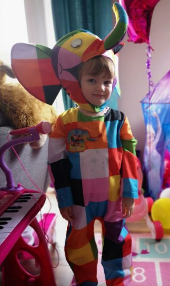Rosie, 4, dressed up as Elmer the elephant for her nursery's World Book Day