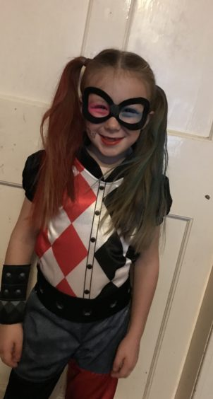 Teghyn, 6, dressed as popular comic book character Harley Quinn