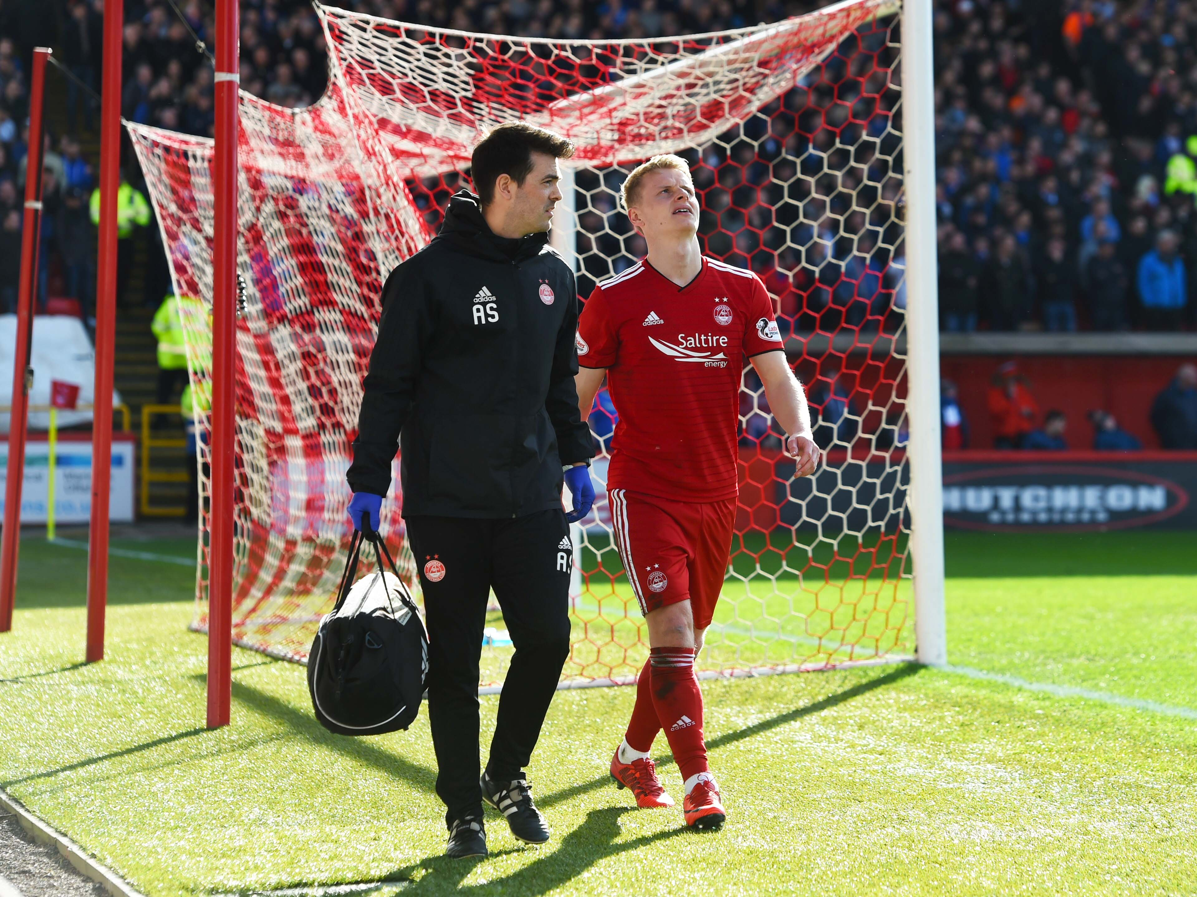 Aberdeen's Gary Mackay-Steven was injured following a challenge from Connor Goldson.