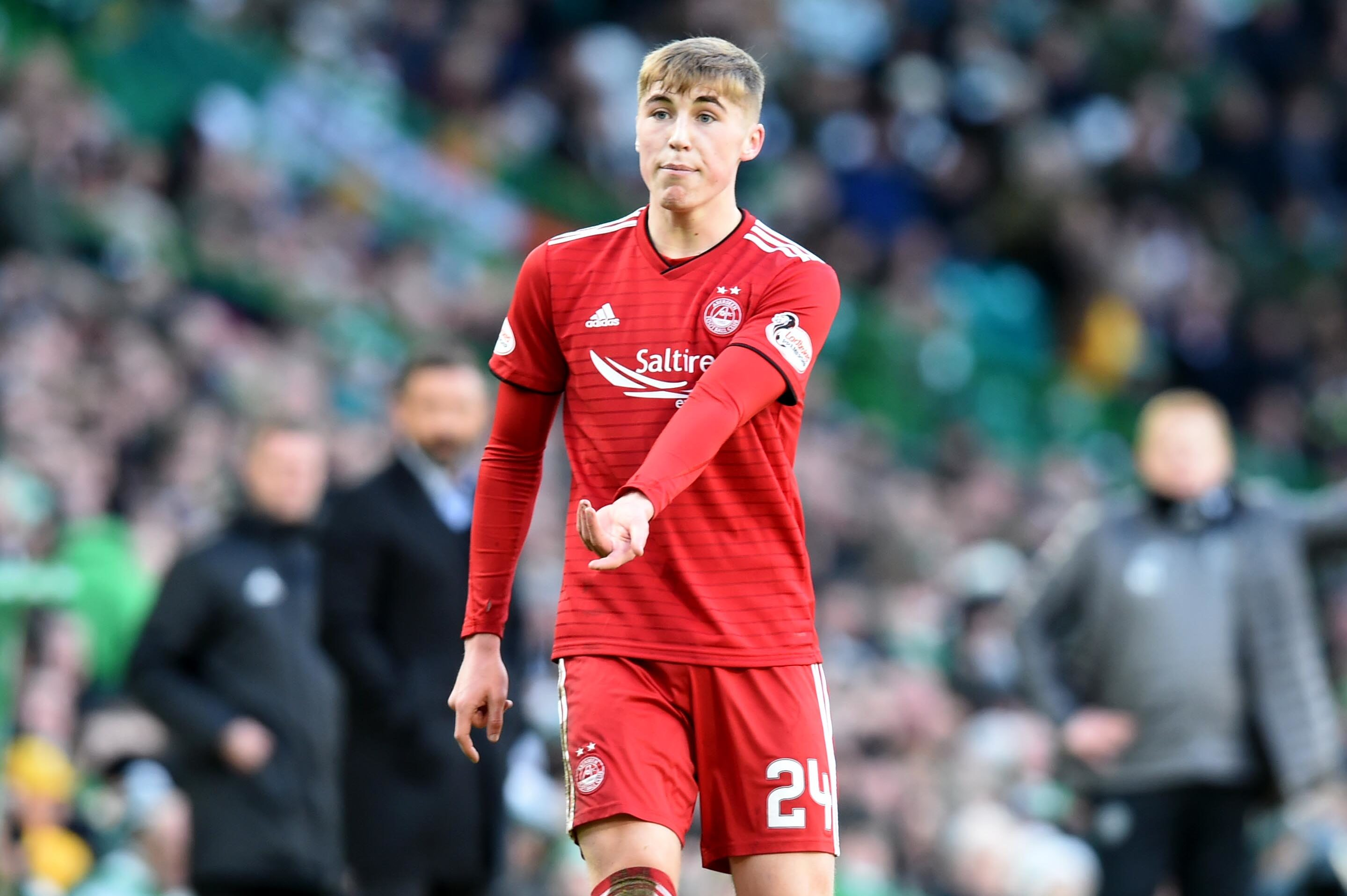 Aberdeen's Dean Campbell comes on at half-time against Celtic.