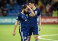 Scotland's Graeme Shinnie show's his frustration at full-time against Kazakhstan.