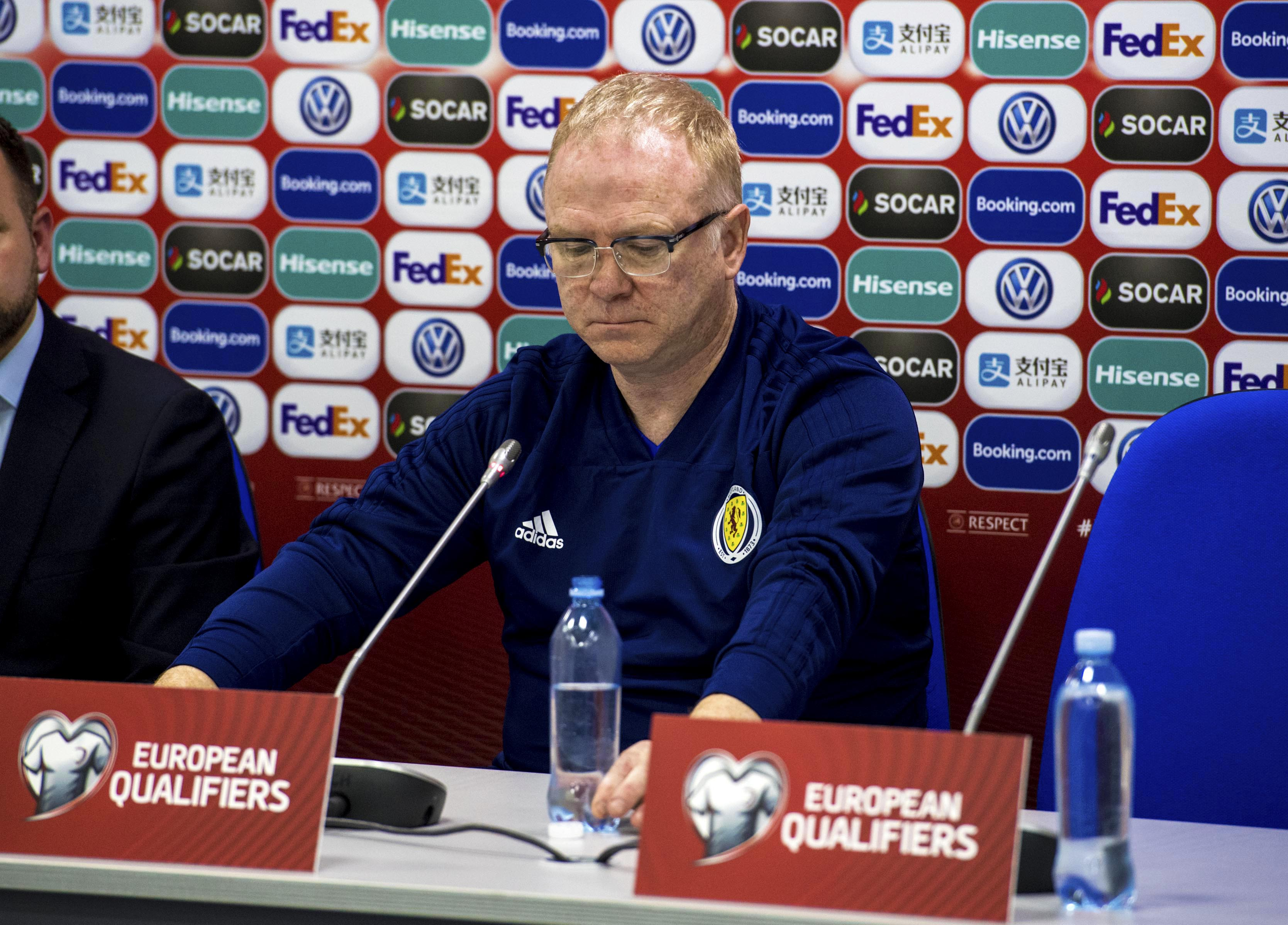 Scotland manager Alex McLeish looks dejected at his post-match press conference.