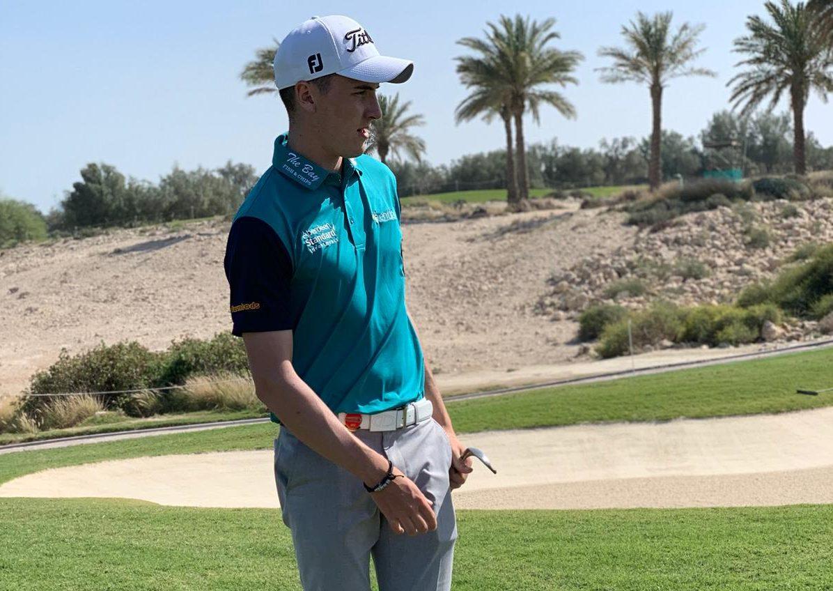 Sam Locke practising in Qatar.