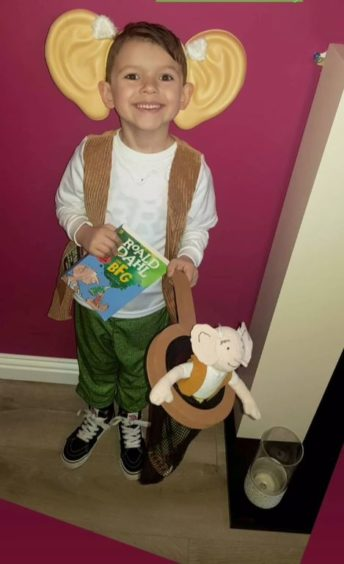 Rudy Cooper, 6, dressed up as the BFG