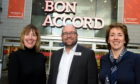 Susan Crighton, Craig Stevenson and Tracy Johnstone, chairwoman of Charlie House, outside the Bon Accord Centre