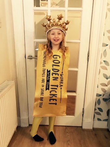 Leah Henderson, 8, dressed up as a golden ticket for World Book Day