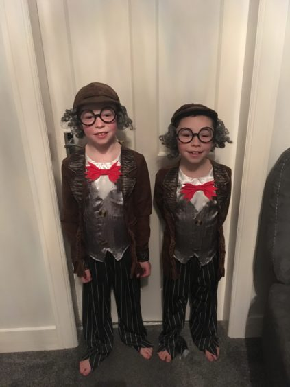 Jack, 8, and James, 6, both dressed as Mr Stink