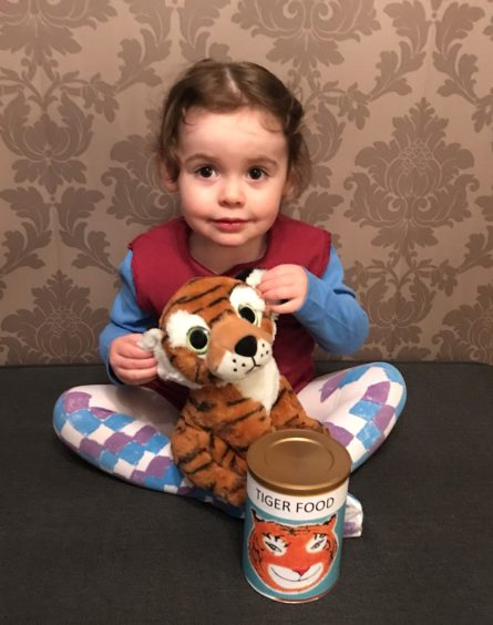 Millie Macdonald, 2, as Sophie from the Tiger Who Came to Tea