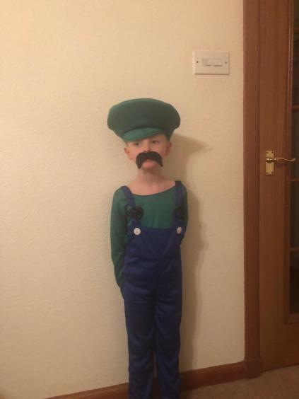 Jamie McAndrew, 4, dressed as Luigi