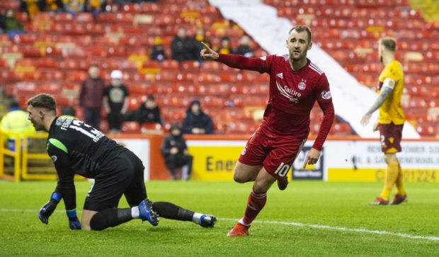 Aberdeen's Niall McGinn celebrates putting his side in front