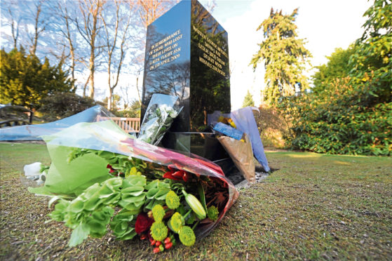 a memorial for the crash victims in Johnston Gardens, Aberdeen