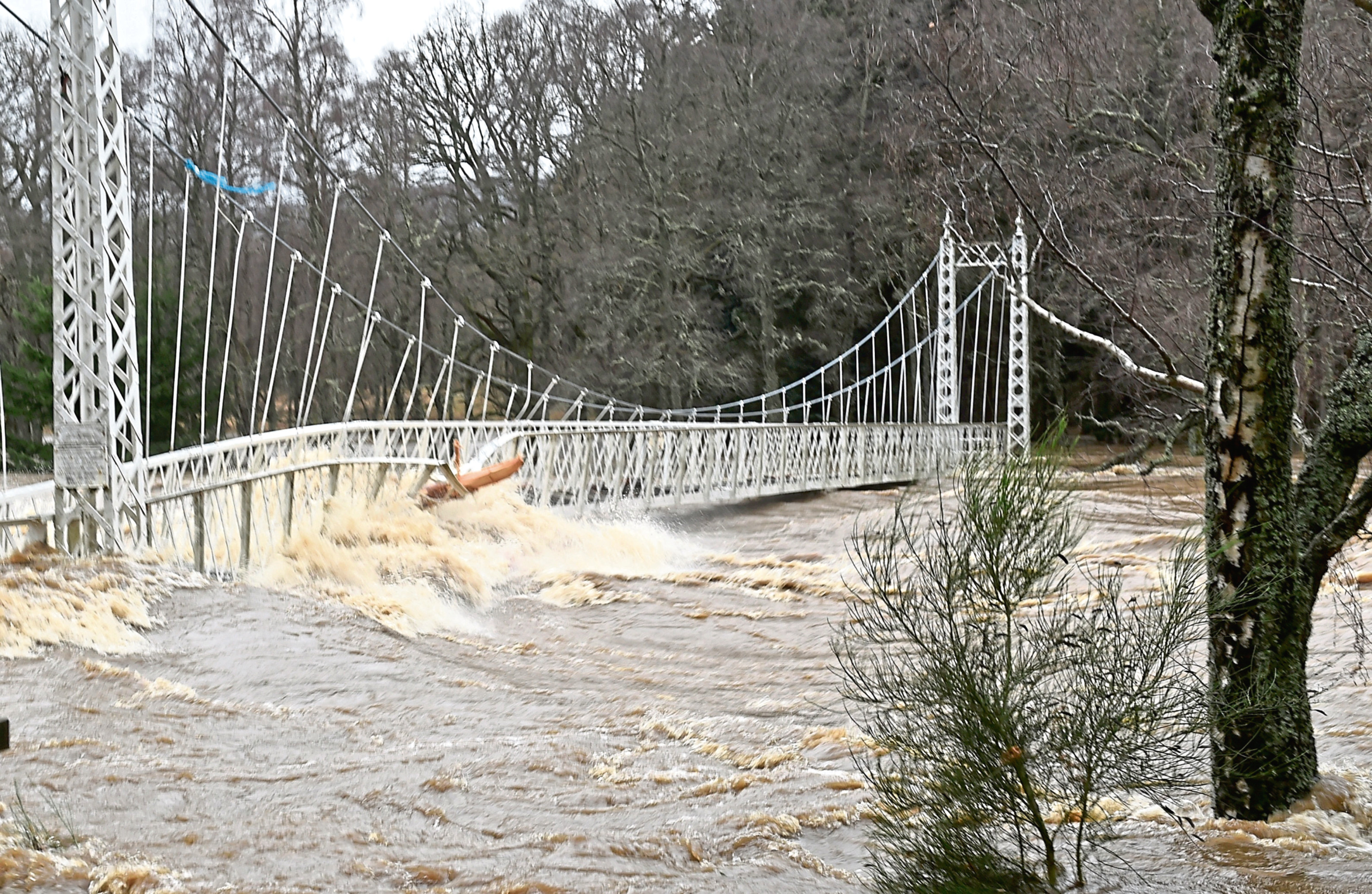 The Cambus O'May bridge during the Storm Frank floods