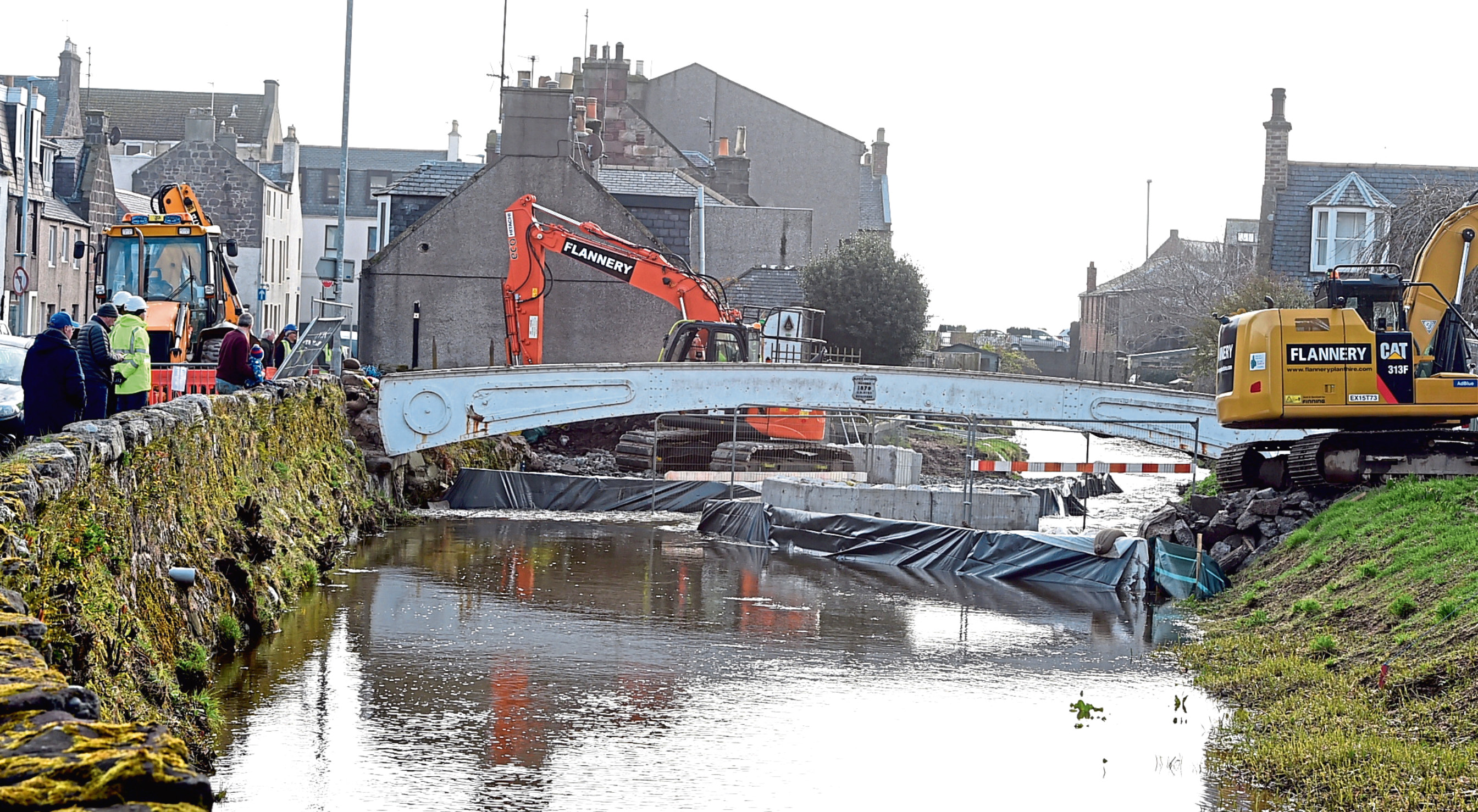 The White Bridge in Stonehaven being removed.