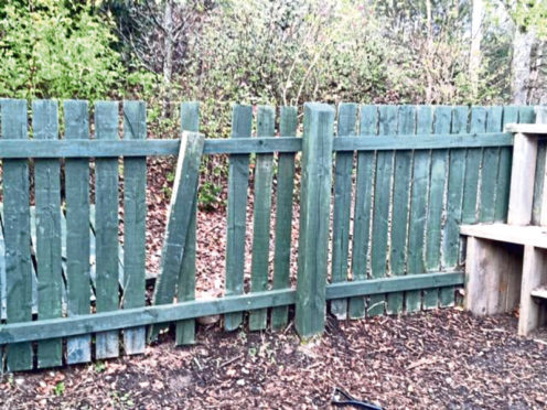 Damage to some of the fencing at the garden