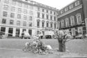 Floral tributes at the spot where WPC Yvonne Fletcher was shot outside the St James's Square in London