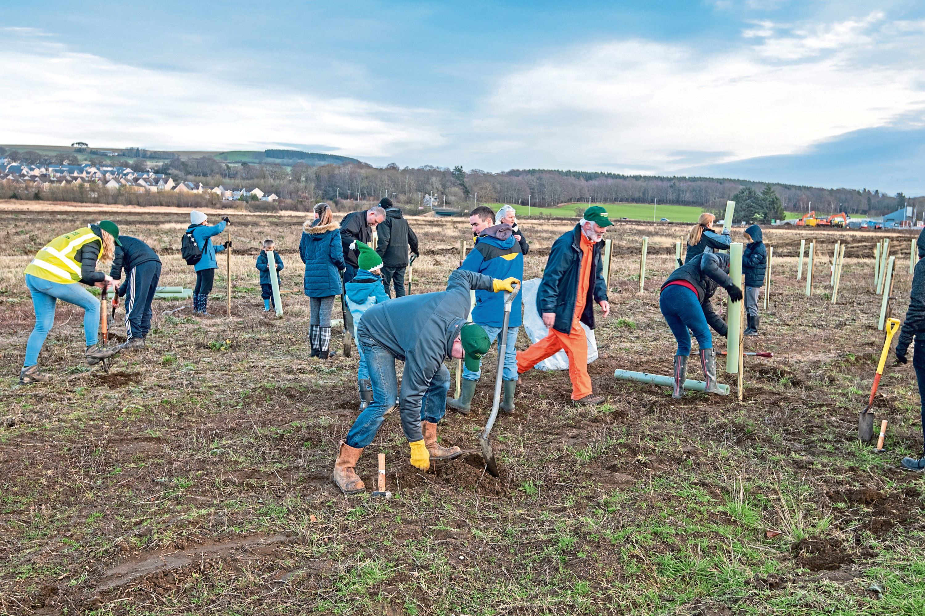 Tree planting at Ury Riverside Park, where there are now plans for a playpark for the community